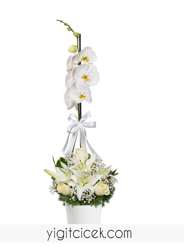 su perisi orkide lilyum gül arajmanı